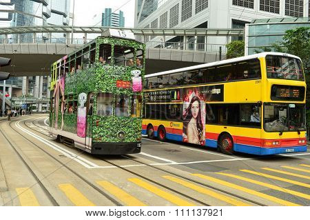 HONG KONG - MAY 06, 2015: Hong Kong double-decker tram in Central. Trams in Hong Kong is the cheapest mode of public transport on the island
