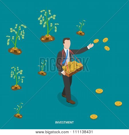 Investment isometric flat vector concept.