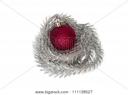 Red Bauble With Tinsel