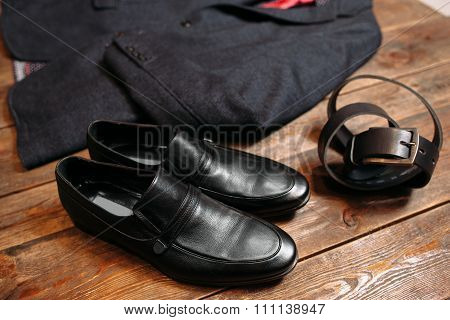Leather Shoe And Belt. Business Cloth Set