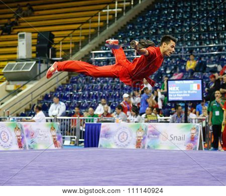 JAKARTA, INDONESIA - NOVEMBER 16, 2015: Luis Felipe Rosas of Mexico performs the movements in the men's Daoshu event at the 13th World Wushu Championship 2015 at the Istora Senayan Stadium.