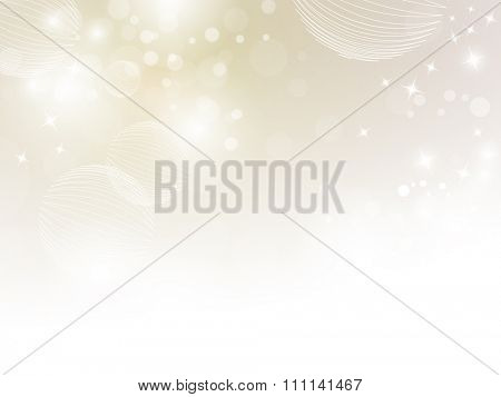 Soft beige sparkle background with bokeh lights fading to white