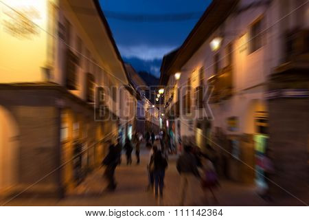 Street Life At Dusk In Cusco, Peru, Blurred Motion Effect
