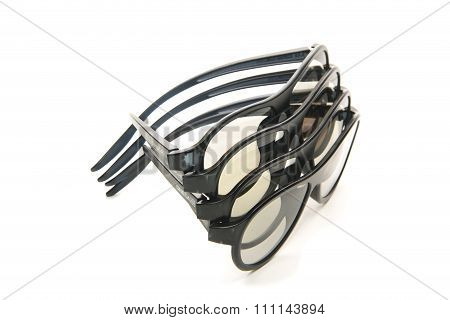 Glasses in a black plastic frame isolated over the white