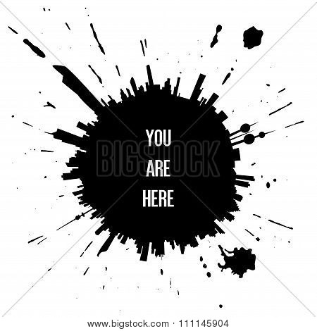 You Are Here - Kuwait Skyline Black Ink Splat