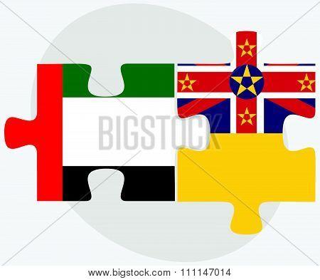 United Arab Emirates And Niue Flags