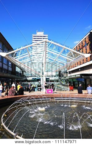 Shopping centre and fountain,Coventry.