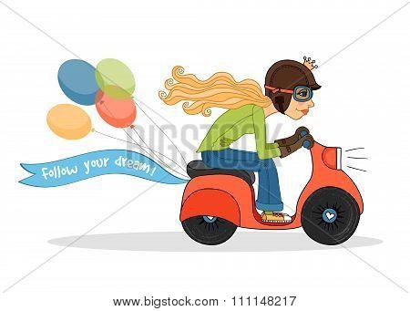Girl with motorbike