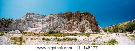 Panorama of mountains near Rio Chillar River in Nerja, Malaga, S
