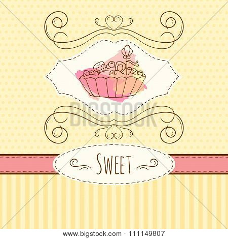 Tart Illustration. Vector Hand Drawn Card With Watercolor Splashes. Sweet Polka Dots And Stripes Des