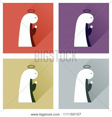 Concept of flat icons with long shadow Virgin Mary