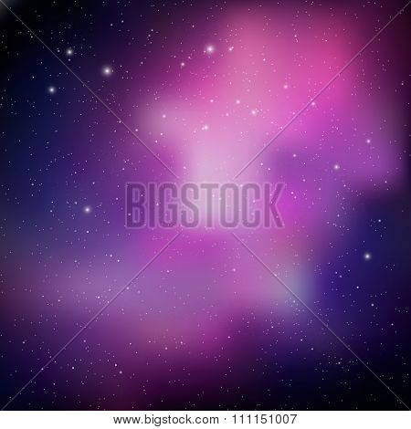 Vector Cosmos Illustration With Stars And Galaxy.