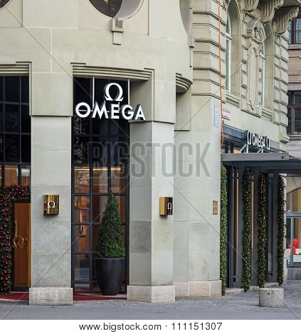 Entrance Of The Omega Watch Store Decorated For Christmas