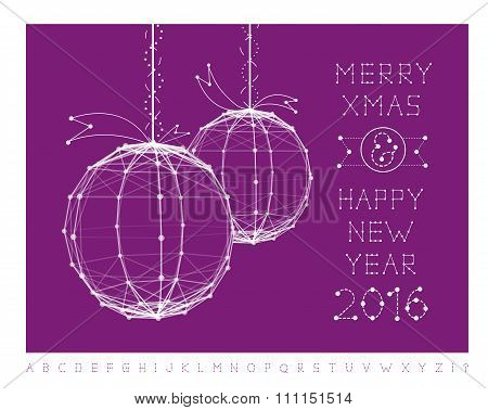 Christmas ball vector illustration and font
