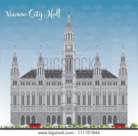 Vienna City Hall in gray color with blue sky. Business travel and tourism concept with historic buildings. Image for presentation, banner, placard and web site.