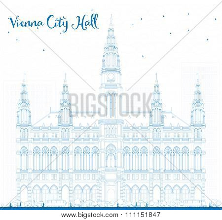 Outline Vienna City Hall in blue color. Business travel and tourism concept with historic buildings. Image for presentation, banner, placard and web site.
