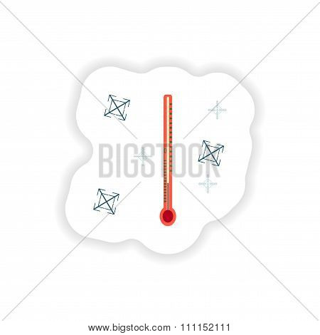 stylish paper sticker on white background thermometer snowflakes