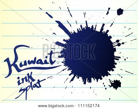 Kuwait Ink Splat On Ruled Office Paper