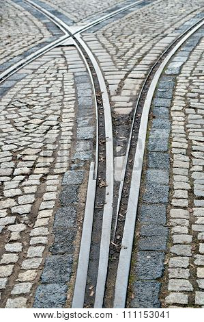 Rail Tram and cobbled street
