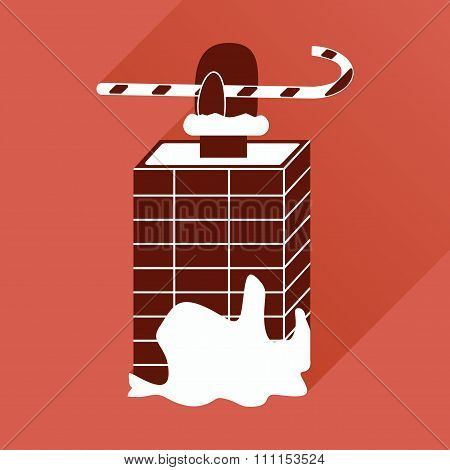 flat icon with long shadow Santa in the chimney
