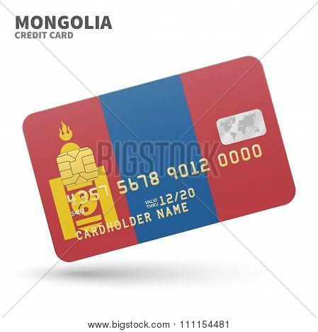 Credit card with Mongolia flag background for bank, presentations and business. Isolated on white