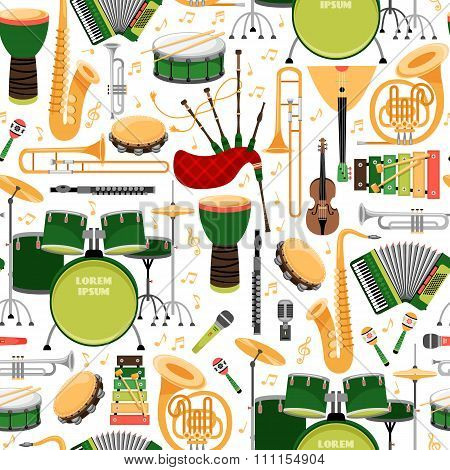 Pattern with musical instruments