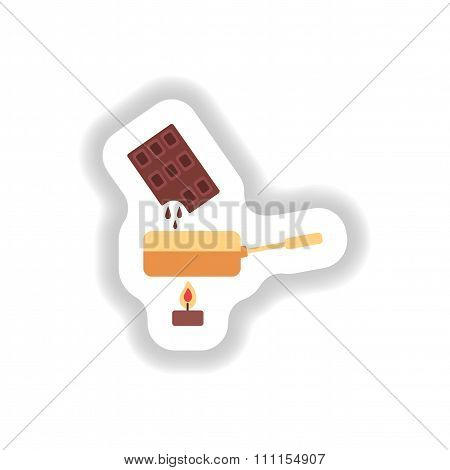 stylish paper sticker chocolate fondue on candle