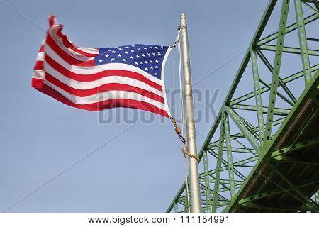 Astoria Bridge and Flag horizontal, Oregon
