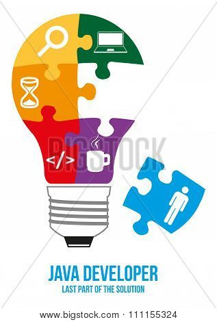 Java Developer Search Puzzle Design Concept