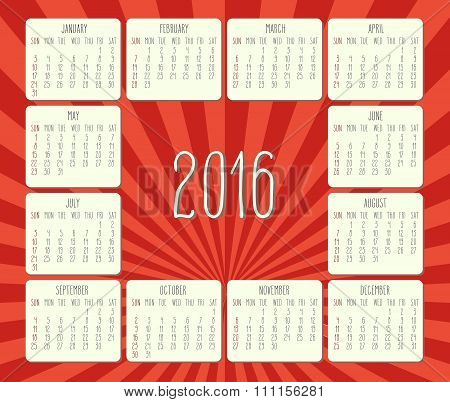 Year 2016 Monthly Calendar