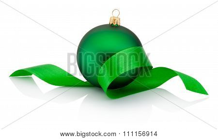 Green Christmas Bauble Covered With Curled Ribbon Isolated On White Background