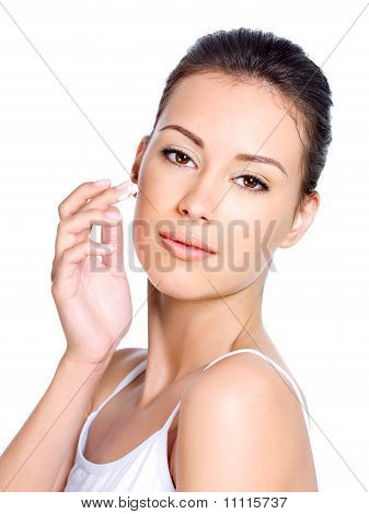 Woman Applying Moisturizer Facial Cream