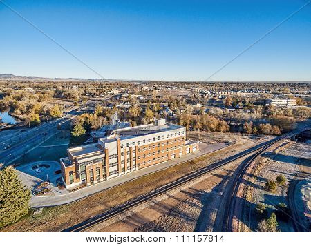 FORT COLLINS, CO, USA - NOVEMBER 15, 2015: Powerhouse Energy Campus of Colorado State University - aerial view at a new building completed in 2014 and historic Fort Collins Municipal Power Plant.