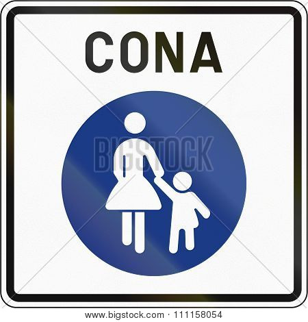 Slovenian Road Sign - Pedestrian Zone. Cona Means Zone