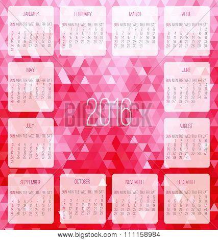 Year 2016 Monthly Calendar