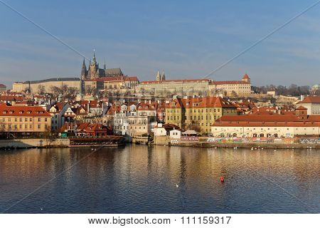 Royal Castle And Vltava River In Prague