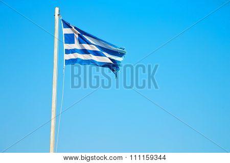 Waving Greece Flag In The Blue Sky   Flagpole