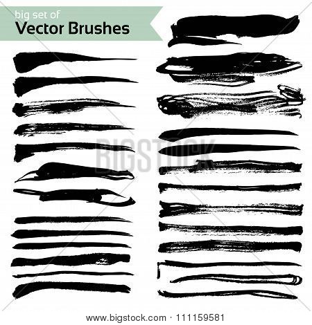 Abstract Brush Textured Strokes Set Isolated On A White Background