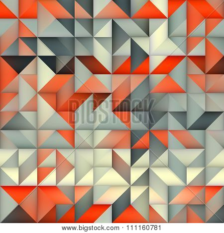 Raster Seamless Orange Grey Gradient Triangle Irregular Grid Square Pattern