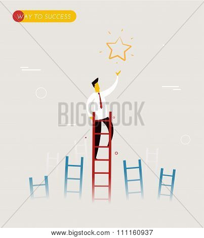 Businessman climbs the stairs to get a star.