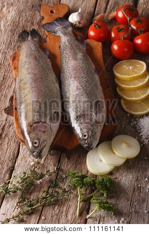 Two Raw Trout With Ingredients On A Cutting Board. Vertical Top View