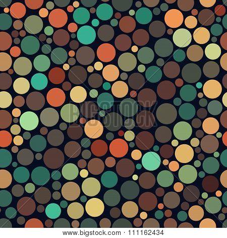 Vector Seamless Jumble Multicolor Brown Teal Orange Tones Random Circles Pattern