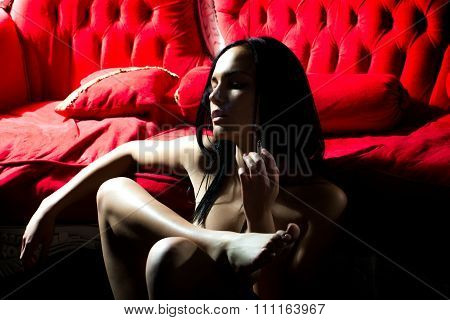 Naked Woman Smoking Cigarette