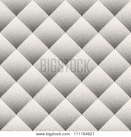 Vector Seamless Black And White Stippling Rhombus Gradient Halftone Dot Work Pattern