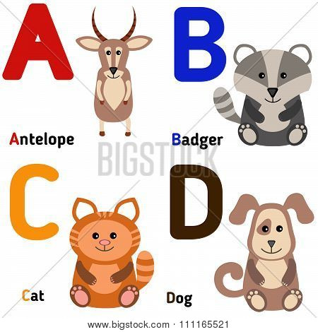 Cute zoo alphabet in vector. A, b, c, d