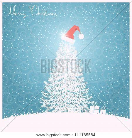 Christmas Tree Blue Background.vector Blue Illustration