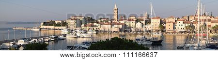 The Town Of Rab, Croatian Tourist Resort Famous For Its Bell Towers.