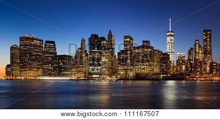 East River Evening View Of Lower Manhattan, New York City