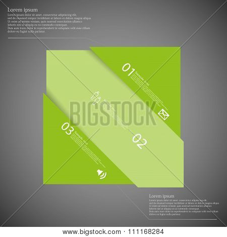 Infographic Template With Rectangle Askew Divided To Three Green Parts