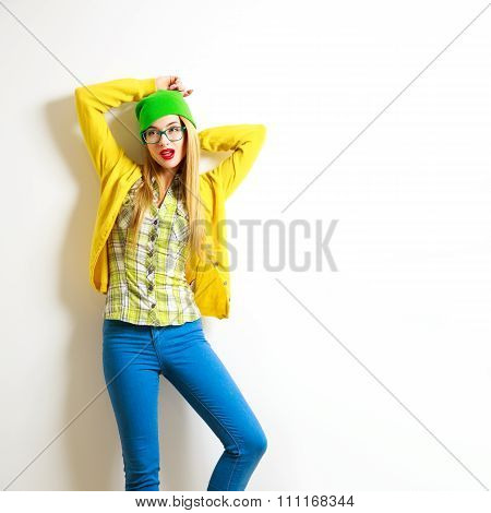 Street Style Hipster Girl at White Background. Not Isolated.